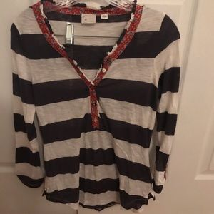 Anthropologie Blue Striped Blouse